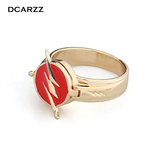 (Justice League The Flash Copper Ring | Can Be Opened Lightning Logo Superhero Cosplay Movie Jewelry)