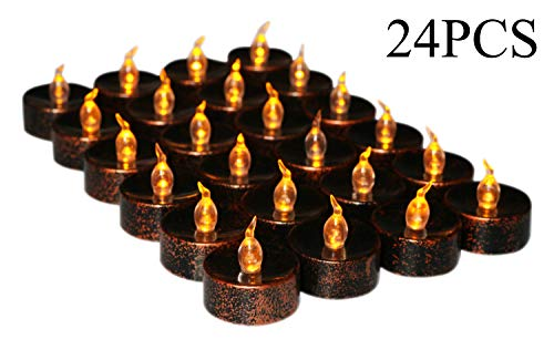 Halloween Pumpkin Candles, Led Battery Operated Black Fake Electric Small Plastic Flameless Dropless Outdoor Indoor Home Party Pumpkin Decorative Halloween Decoration Candle Supplies Ideas, 24PCS -