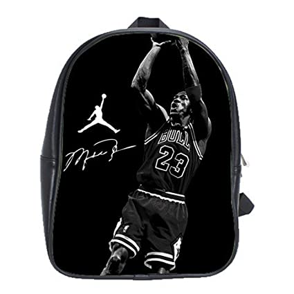 0ca19c971b Michael Jordan 23 Slamdunk Chicago Bulls Reprint Signature Black And White  Leather Backpack Notebook Laptop Macbook Ipad Bag School Rucksack Bags  ...
