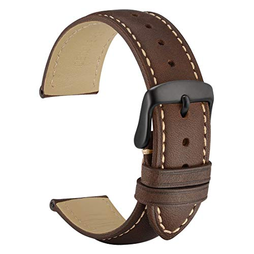 WOCCI 20mm Watch Bands - Dark Brown Vintage Leather Watch Strap with Black Buckle (Contrasting Stitching)