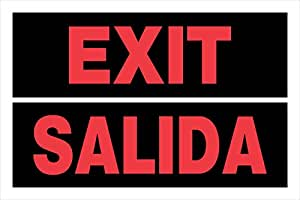 Hillman 841964 Exit Salida, Bilingual Spanish Plastic Sign, 8x12 Inches 1-Pack