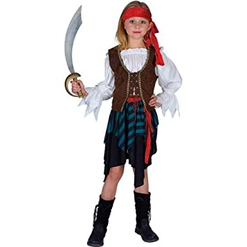 Childs traje del disfraz de la muchacha pirata caribe (M - 5/7 ...