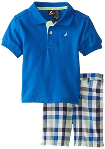 Nautica Baby-Boys Infant 2 Piece Solid Polo with Printed Short, Brilliant, 18 Months