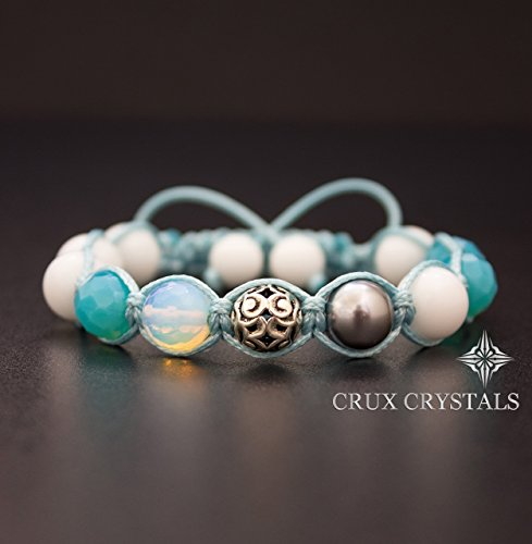 Sea Breeze, Handcrafted Shamballa Beaded Bracelet Crux Crystals, Opal and Teal Gemstone Wrap Bracelet, Swarovski Elements, Sterling SilverCrux Crystals ()