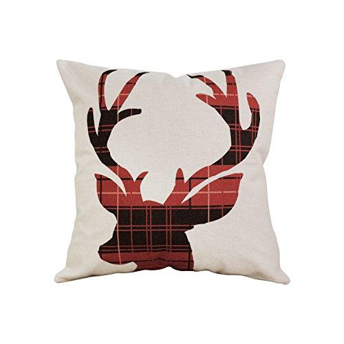 (Throw Pillow Cover Cushion Covers Case Toss Pillowcase Throw Pillow Case Christmas Winter Deer Throw Pillow Case Decorative Scottish Buffalo Plaid Cushion Cover Pillowcase Cushion Cases 18 x 18 Inches)
