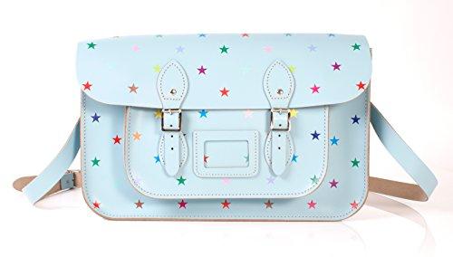 38,1cm Baby blu con stelle multicolore modello inglese in pelle Oxbridge Satchel–Fashion retro scuola borsa