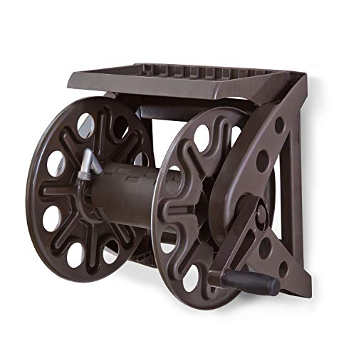 Liberty Basics 512 Wall Mounted Hose Reel with Shelf (Best Wall Mounted Hose Reel)
