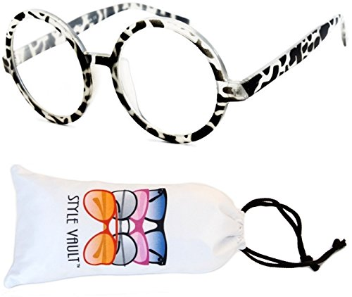 E22-vp Round Clear Lens Sunglasses Glasses (B1664F Tortoise Clear-Clear, - Animal Print Zoo Sunglasses