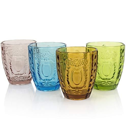 Drinking Glasses Set of 4, Colored Premium Heavy Glassware, 12OZ Multicolor Glass Tumbler, Home Decorations Gift