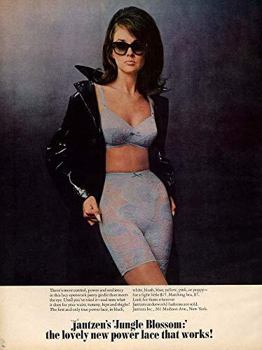 Jungle Blossom - lovely new power lace bra & girdle Jantzen ad 1967 Vog