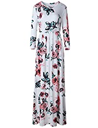 Bewish Womens Round Neck 3/4 Sleeve Floral Printed Casual Long Dress