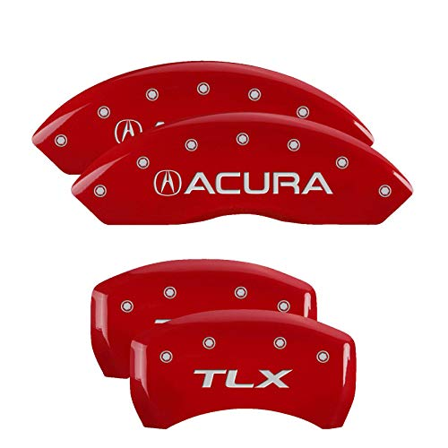 MGP Caliper Covers 39018STLXRD Red Powder Coat Finish Acura/TLX Engraved Caliper Cover with Silver Characters, Set of 4