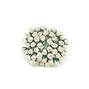 0.7cm White Paper Roses, Mulberry Paper Flowers, Miniature Flowers, Mulberry Paper Rose Buds, Paper Rose Flower, Miniature Rose, DIY Bouquet, Scrapbooking Flowers 50 Pieces 36