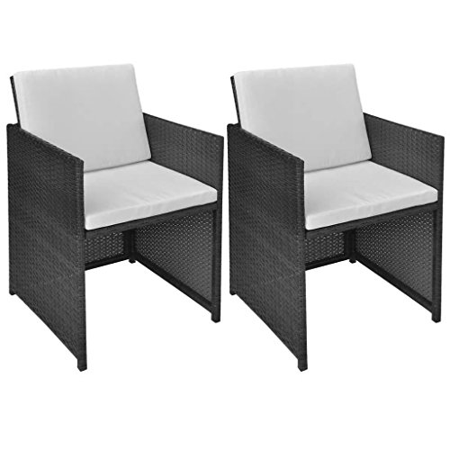 Festnight Outdoor Patio Wicker Dining Chairs Set of 2 Black Poly Rattan