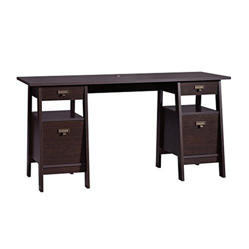Sauder Executive Trestle Desk, Jamocha Wood Finish
