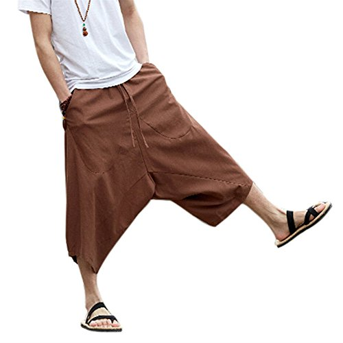 ZooBoo Palazzo Parachute Harem Pants - Thai Cargo Boho Hippie Baggy Buddha Yoga Balloon Loose Gypsy Aladdin Chinese Large Pocket Bloomer Trousers Knickers Clothing for Women Men (M, Coffee)