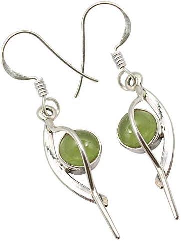 August Birthstone Peridot Gemstone Earrings Green Dangle Earrings Stocking Stuffer Drop Earrings Earrings Silver Circle Earrings