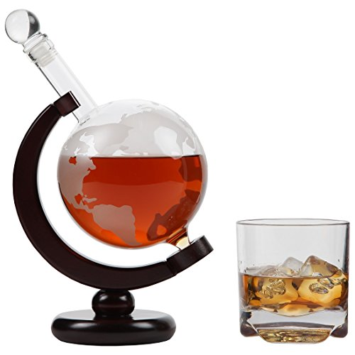 Lily's Home World Globe Whiskey Decanter with Dark Finished Wood Stand and Bar Funnel, Let Your Favorite Vintages Breathe with this Beautifully Stylish and Functional Piece (850 ml) by Lilyshome (Image #4)