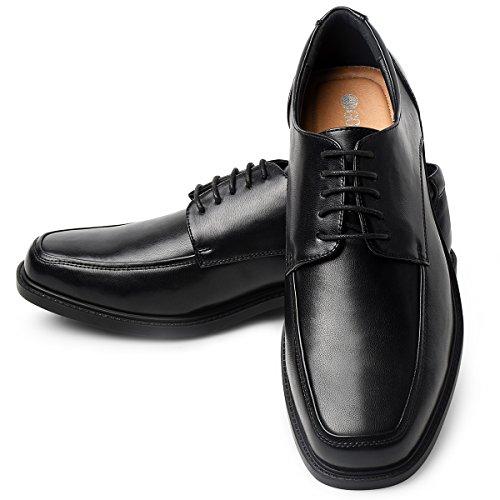 Men's Leather Dress Shoes Square Toe Lace up Oxfords Black 13 ()