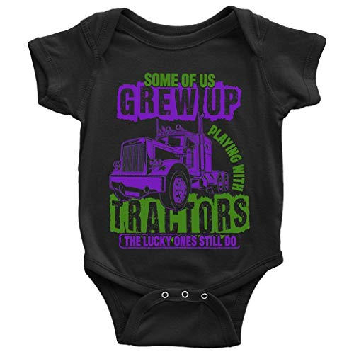 Playing With Tractors Baby Bodysuit, Lucky Ones Till Do Baby Bodysuit (6M, Baby Bodysuit - Black) ()
