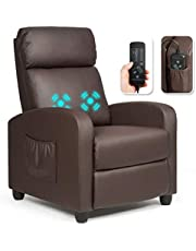 DORTALA Recliner Massage Chair, Ergonomic Adjustable Single Sofa with Padded Seat, Backrest, Footrest, Home Theater Seating Reclining Sofa with Remote Control, Modern Massage Recliner for Living Room, Home