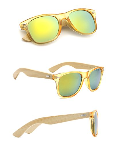 TIJN Bamboo Wood Temple Color Lens Wayfarer - Sunglasses Cheap Gold
