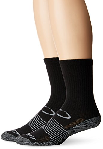 Crew Compression Socks - Copper Fit Unisex-Adults Crew Sport Socks-2 Pack, Black, Large/X-Large