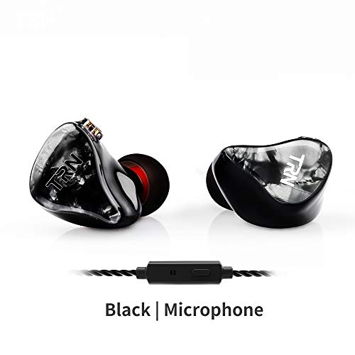 TRN IM2 in-Ear Earphones with Resin Cavity 3.5mm 2Pin Detachable Cable Low Bass Earbuds IEM Headphones Noise Cancelling Headsets Fits Stage Running Outdoor Picnic(Black with Mic) (Best Noise Cancelling Iem)