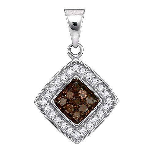 Diamond Square Necklace - Mia Diamonds 10k White Gold Womens Round Chocolate brown Color Enhanced Diamond Square Pendant (.25 cttw.) (I2-I3 clarity; Brown color)