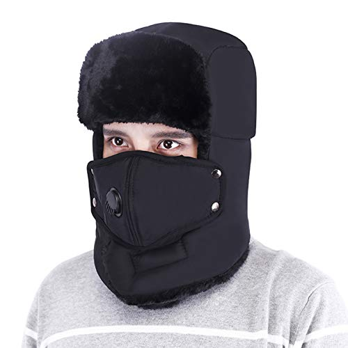 Trooper Trapper Hat Men's Winter Windproof Warm Mask Earflaps Outdoor Sports Walking Skiing Hunting Aviator Hat (Black)