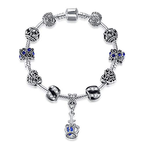 Fashbag Cuff Bracelet Authentic 925 Enamel Silver Crystal Beads Charms Bracelet for Women with Safety Chain Strand Bracelet Bangle PS3841 20cm