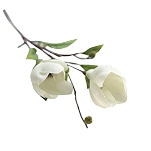 YJYdada Artificial Silk Fake Flowers Magnolia Flower Wedding Bouquet Party Home Decor (White) 13