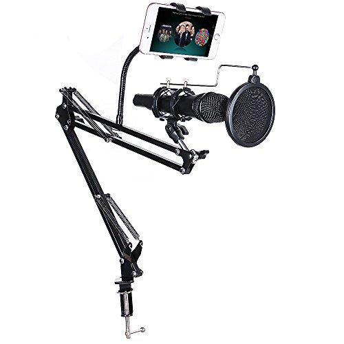 Adjustable Desk Recording Microphone Suspension Boom Scissor Arm Stand by BLENDX with 360° Rotating Phone Holder & Pop Filter Windscreen for Broadcasting / Phone Karaoke / PC , black
