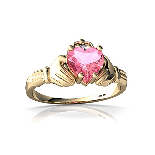 14kt Yellow Gold Lab Pink Sapphire and Diamond 6mm Heart Claddagh Ring - Size 6.5 (Yellow Gold Sapphire Claddagh Ring)