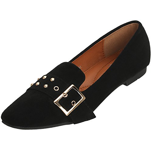 STENFFY Women's Ballet Flats Loafers Classic Rivets Pointed Toe Soft Slip On Suede Casual Shoes