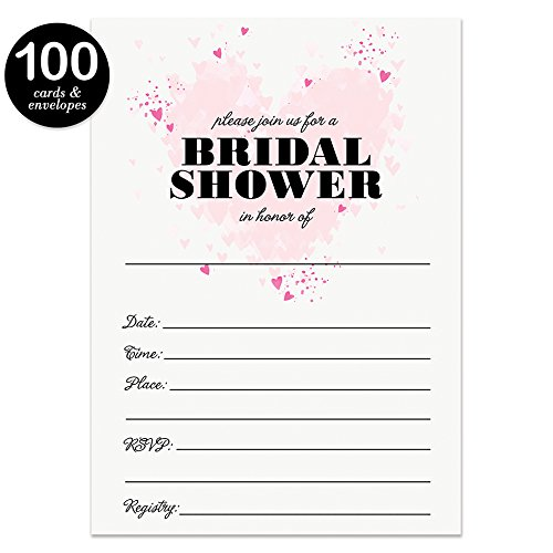 Bridal Shower Invitations & Thank You Cards with Envelopes Matched Set ( 100 of Each ) Beautiful Pink Hearts Write-in Invites & Bride's Wedding Party Gift Folded Thank You Notes Best Value Combo Pair by Digibuddha (Image #3)