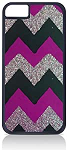 Purple, Black and Silver Glitter Chevron Case for the Apple Iphone 4-4s Universal-Hard Black Plastic Outer Shell with Inner Soft Black Rubber Lining