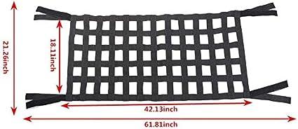 Nylon net-Retention Organizer Cargo Sunscreen Free Size See Illustration,See Figure Cargo net Behind Car Roof Hammock car Bed Rest for Jeep Wrangler JK 2007-2018