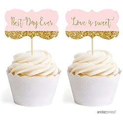 Andaz Press Blush Pink Gold Glitter Print Wedding Collection, Fancy Frame Cupcake Topper DIY Party Favors Kit, 18-Pack