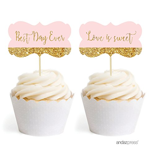 Andaz Press Blush Pink Gold Glitter Print Wedding Collection, Fancy Frame Cupcake Topper DIY Party Favors Kit, -