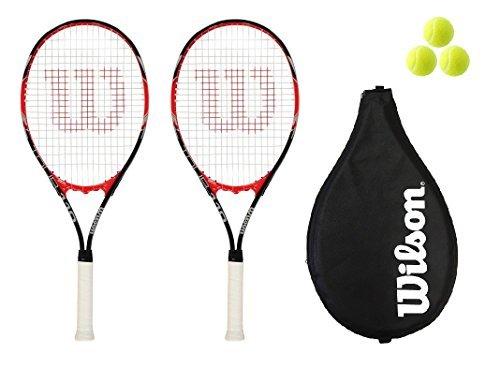 2 x Wilson Tour 110 Red Tennis rackets + Cover + 3 Tennis Balls