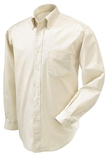 Devon & Jones Men's Long Sleeve Premium Twill Button Down Dress Shirt D590 beige Small - Devon And Jones Twill Shirt