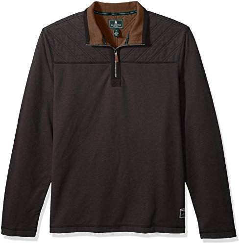 1/2 Zip Fleece Top (G.H. Bass & Co. Men's Quilted 1/2 Zip Fleece, Black Heather, X-Large)