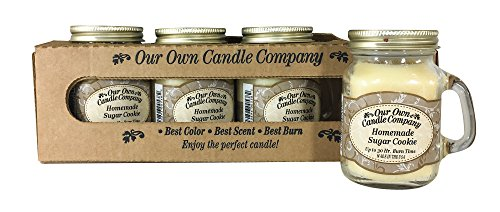 Our Own Candle Company Homemade Sugar Cookie Scented Mini Mason Jar Candle, 3.5 Ounce (4 Pack)