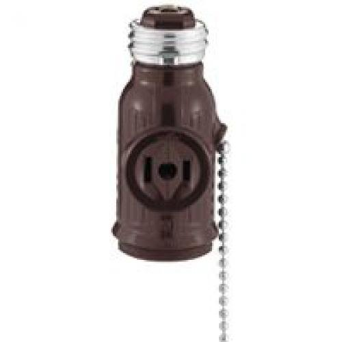 [Cooper 11490 - Medium Base Brown Pull Chain Outlet / Socket Adapter with Two Polarized Side Outlets (SOCKET-ADPTR PC/BN BP718B)] (Polarized Medium Base Socket Adapter)