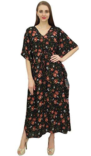 Dress Waist Drawstring Black Nightwear Kaftan Casual Evening Bimba Women's nqRx0t7ffz