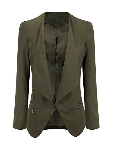 Grapent+Women%27s+Army+Green+Open+Front+Draped+Asymmetric+Side+Zip+Business+Blazer+Jacket+US+8