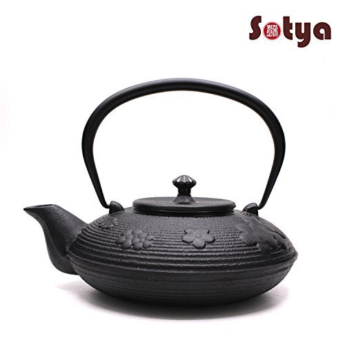 Sotya Japanese Tetsubin cast Iron Teapot Plum Black 1.2L