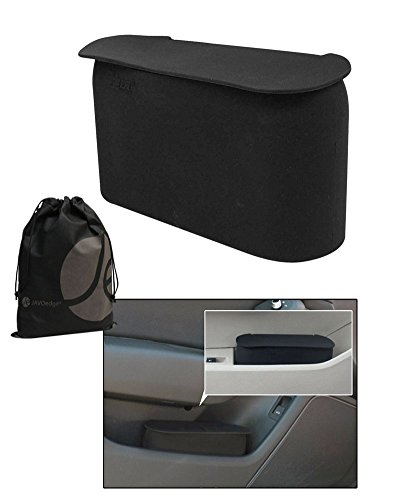 JAVOedge Black Small Car Trash Can with Lid Fits in Most Side Doors Flexible Material