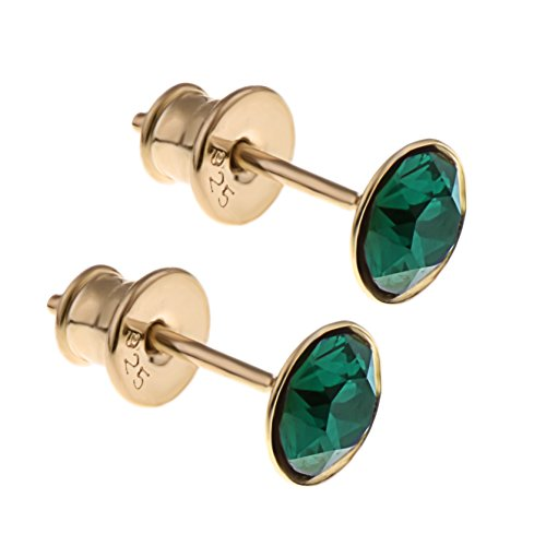 Costumes Collections In London (925 Sterling Silver Gold Plated Simulated Green Emerald Stud Earrings Hypoallergenic - Made in England)